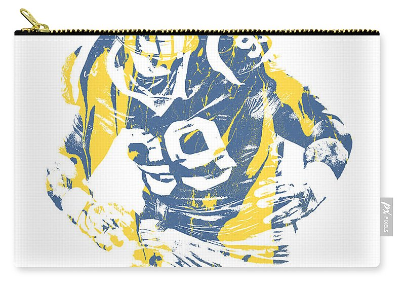 Aaron Donald Carry-all Pouch featuring the mixed media Aaron Donald Los Angeles Rams Pixel Art 13 by Joe Hamilton