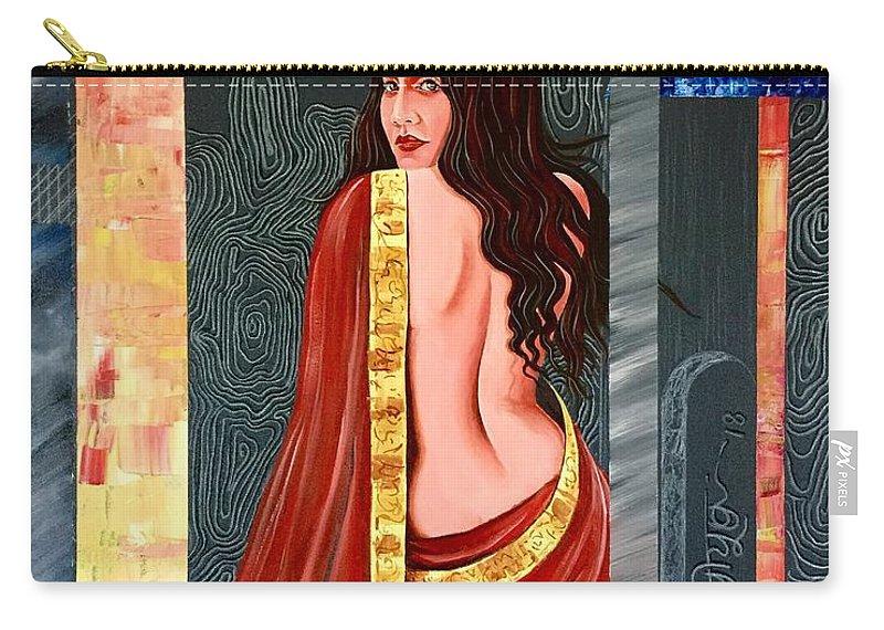 Artist Peeyush Sharma Carry-all Pouch featuring the painting Abhisarika 2 by Peeyush Sharma