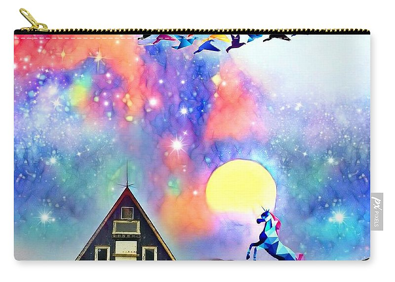 Carry-all Pouch featuring the digital art Abode Of The Artificial-dreamer Zero by Sureyya Dipsar