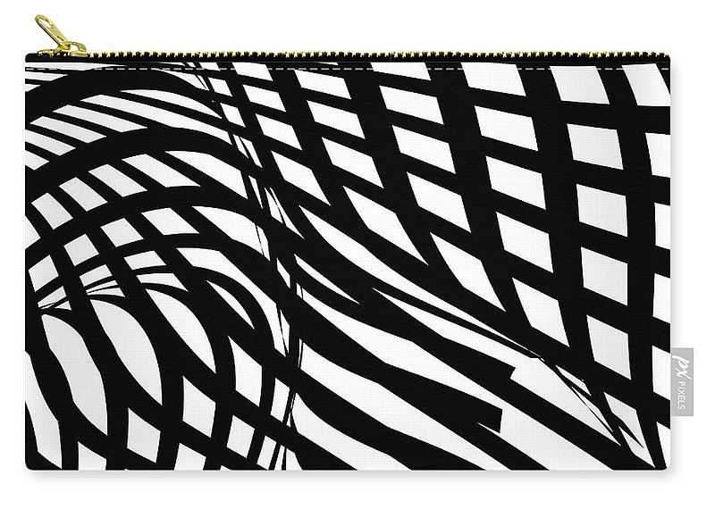 Curve Carry-all Pouch featuring the digital art Abstract Black And White Stripe Shape by Shuoshu