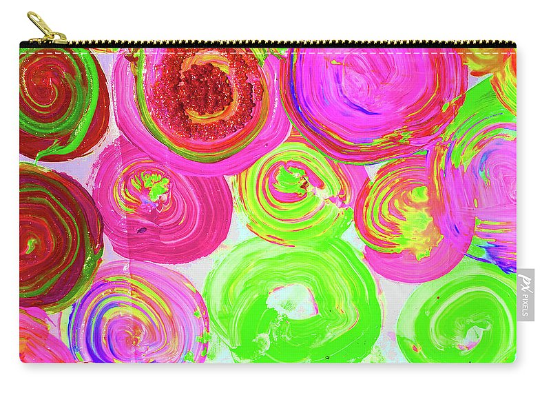 Vivid Carry-all Pouch featuring the mixed media Abstract Flower Crowd by Karen Szybalski