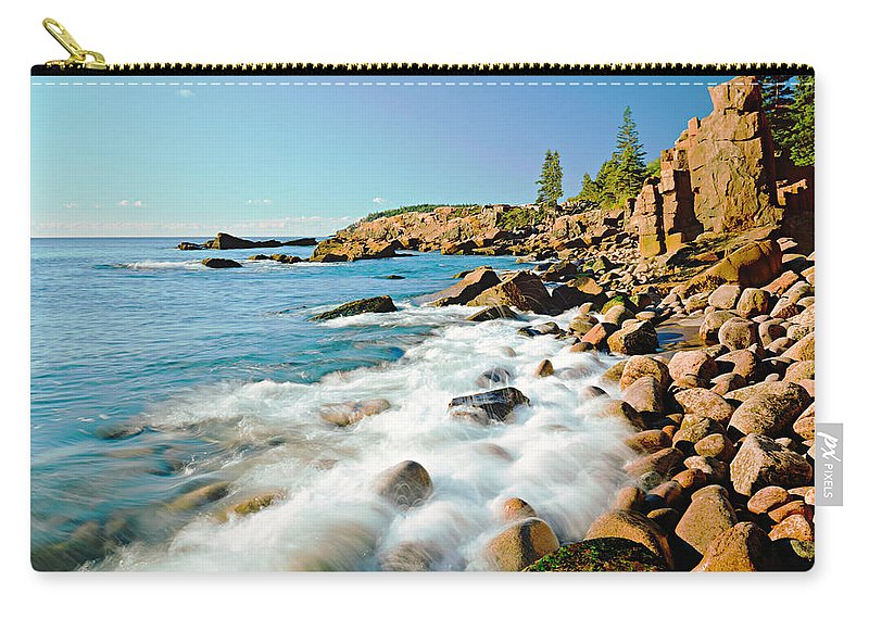 Water's Edge Carry-all Pouch featuring the photograph Acadia National Parks Rocky Atlantic by Ron thomas