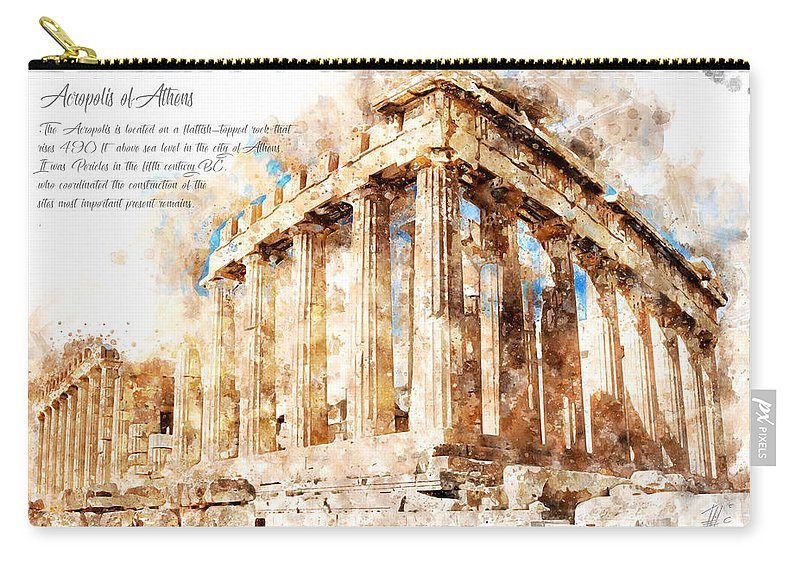 Architecture Sketch Carry-all Pouch featuring the painting Acropolis, Athens, Aquarell by Theodor Decker