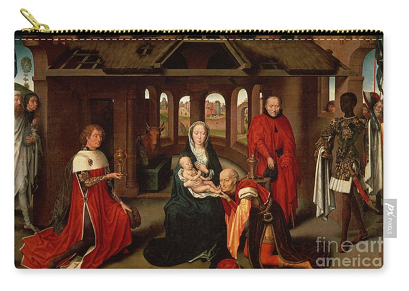 Madrid Carry-all Pouch featuring the painting Adoration Of The Kings by Hans Memling