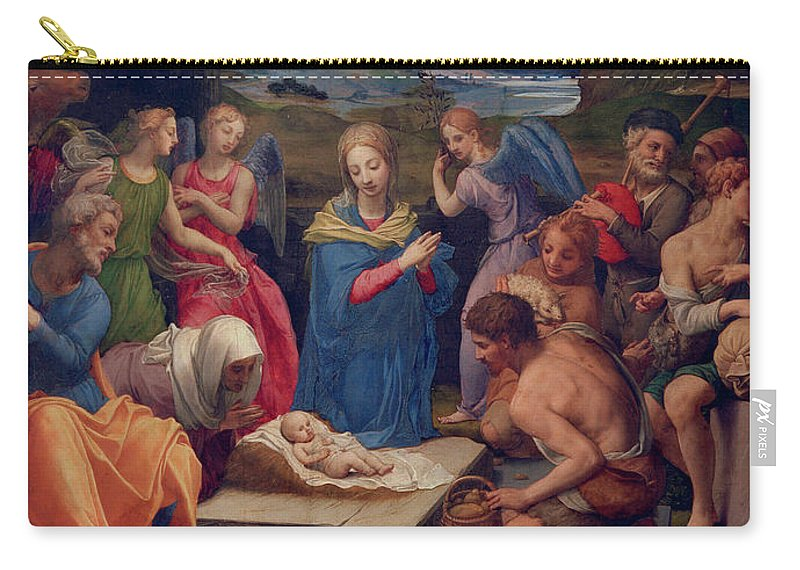 16th Century Carry-all Pouch featuring the painting Adoration Of The Shepherds by Agnolo di Cosimo Bronzino