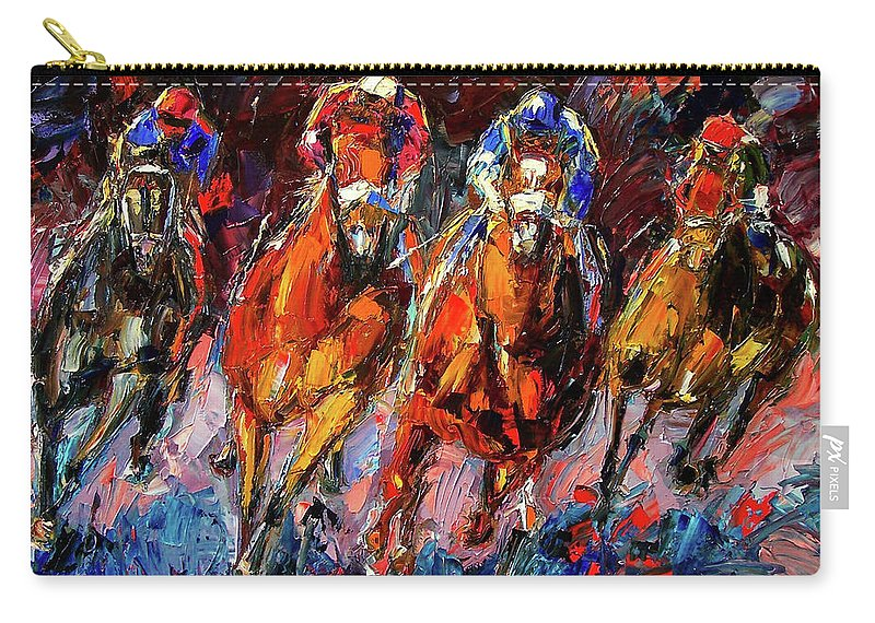 Horse Race Carry-all Pouch featuring the painting Adrenalin by Debra Hurd