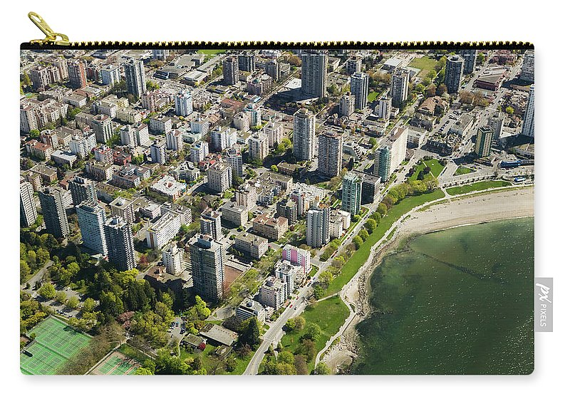 Outdoors Carry-all Pouch featuring the photograph Aerial Of West End, Vancouver by Lucidio Studio, Inc.