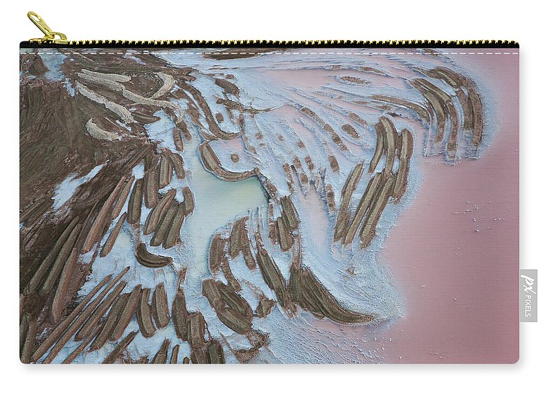 Extreme Terrain Carry-all Pouch featuring the photograph Aerial View Of Salt Works Namibia by Peter Adams