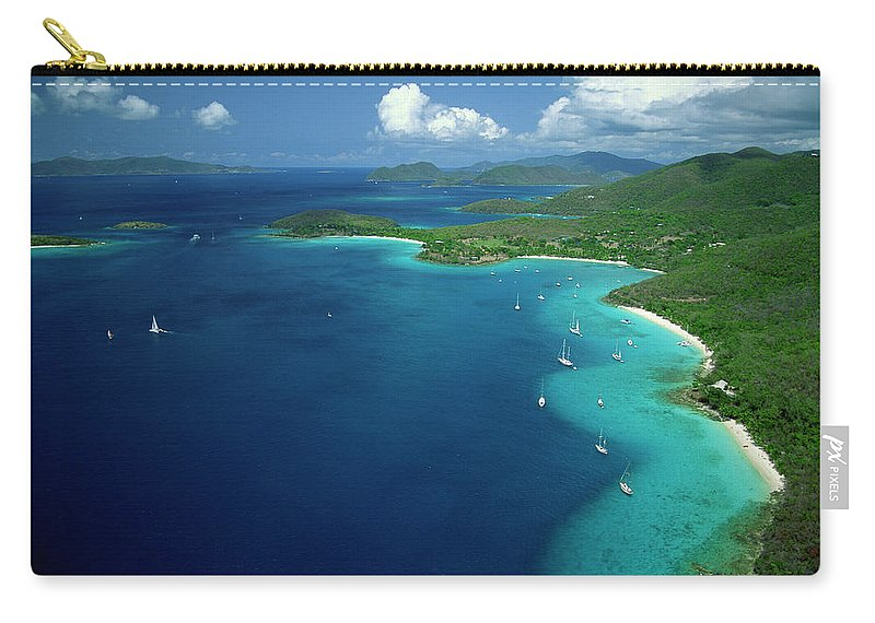 Sailboat Carry-all Pouch featuring the photograph Aerial View Of Shoreline by Don Hebert