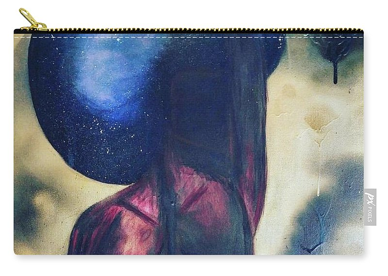 Black Carry-all Pouch featuring the mixed media Afrocelestial by Noun Artworks