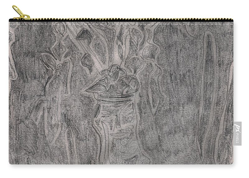 Drawing Carry-all Pouch featuring the drawing After Billy Childish Pencil Drawing 1 by Edgeworth DotBlog