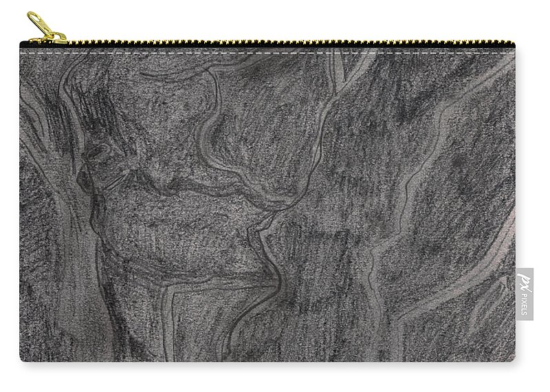 Drawing Carry-all Pouch featuring the drawing After Billy Childish Pencil Drawing 11 by Edgeworth DotBlog
