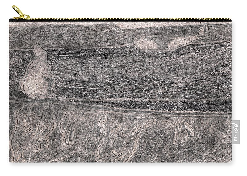 Drawing Carry-all Pouch featuring the drawing After Billy Childish Pencil Drawing 18 by Edgeworth DotBlog