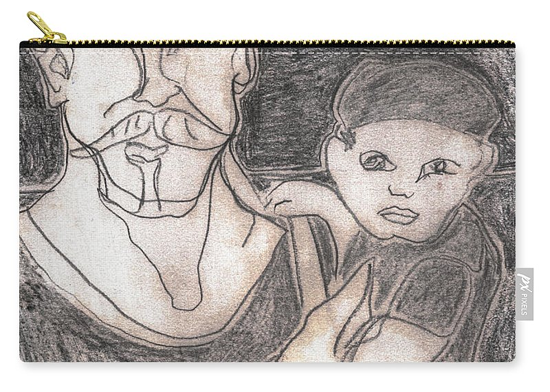 Drawing Carry-all Pouch featuring the drawing After Billy Childish Pencil Drawing 19 by Edgeworth DotBlog