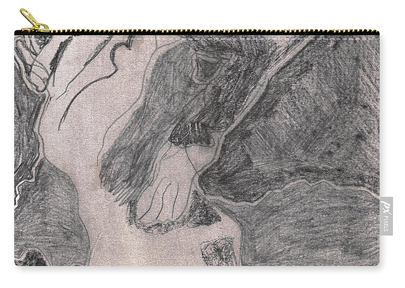 Drawing Carry-all Pouch featuring the drawing After Billy Childish Pencil Drawing 20 by Edgeworth DotBlog