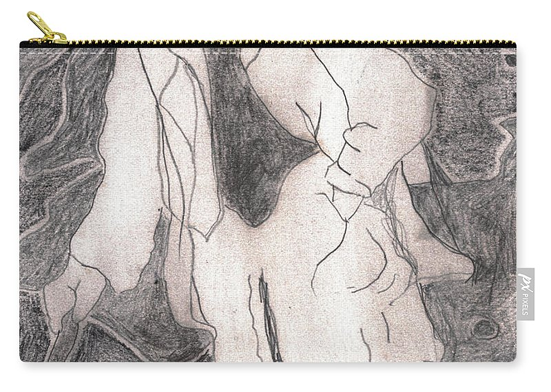 Drawing Carry-all Pouch featuring the drawing After Billy Childish Pencil Drawing 21 by Edgeworth DotBlog