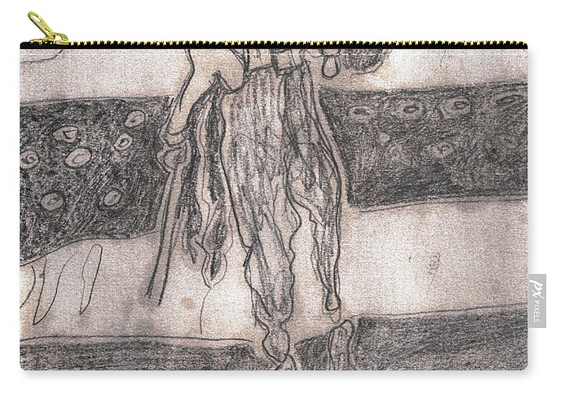 Drawing Carry-all Pouch featuring the drawing After Billy Childish Pencil Drawing 24 by Edgeworth DotBlog
