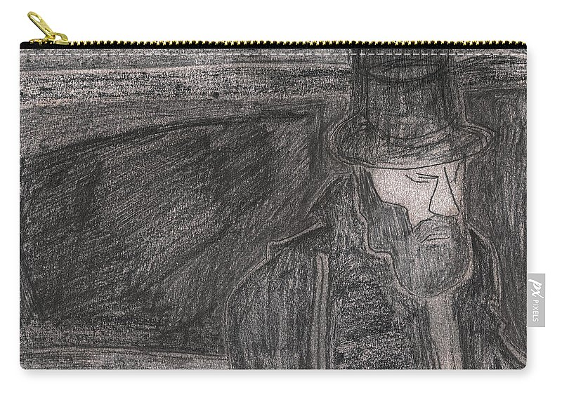Drawing Carry-all Pouch featuring the drawing After Billy Childish Pencil Drawing 32 by Edgeworth DotBlog