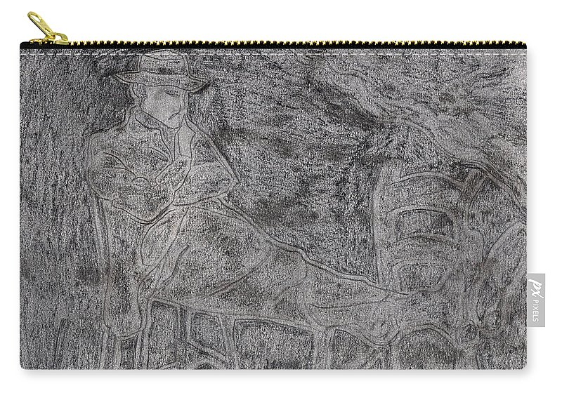 Drawing Carry-all Pouch featuring the drawing After Billy Childish Pencil Drawing 5 by Edgeworth DotBlog