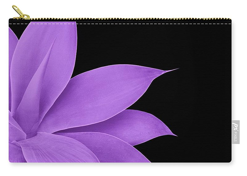 Color Carry-all Pouch featuring the mixed media Agave Finesse #10 - Purple On Black #tropical #decor #art by Anitas and Bellas Art
