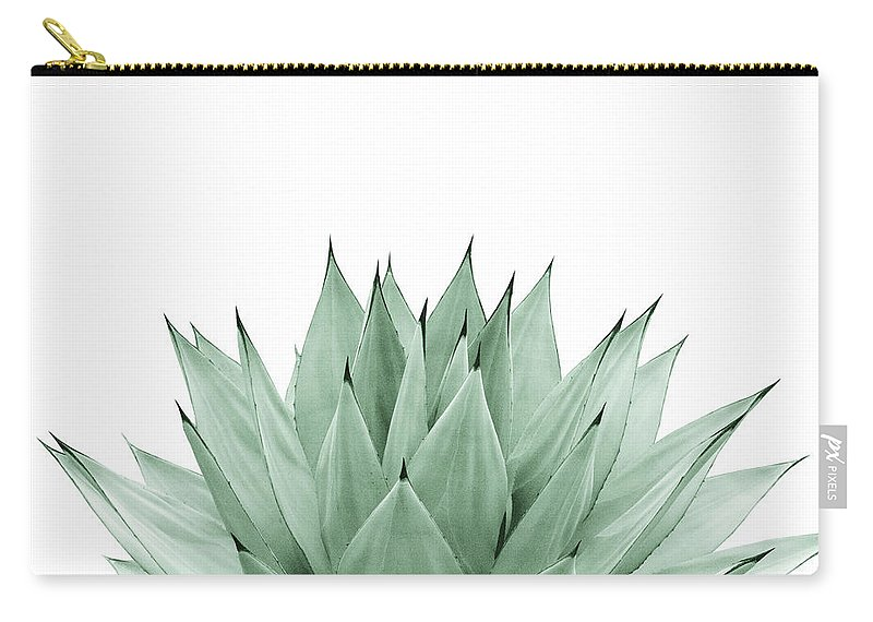 Color Carry-all Pouch featuring the mixed media Agave Green Summer Vibes #1 #tropical #decor #art by Anitas and Bellas Art