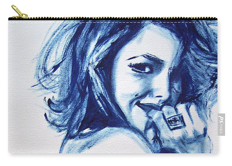 Biro Carry-all Pouch featuring the drawing Ahna by Lee Wilde-Portraits