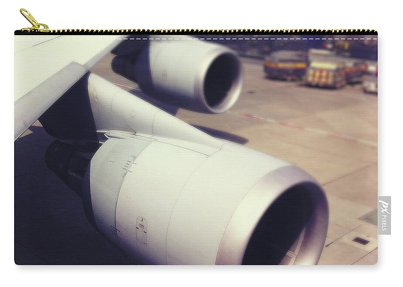 Transfer Print Carry-all Pouch featuring the photograph Aircraft Engines by Ixefra