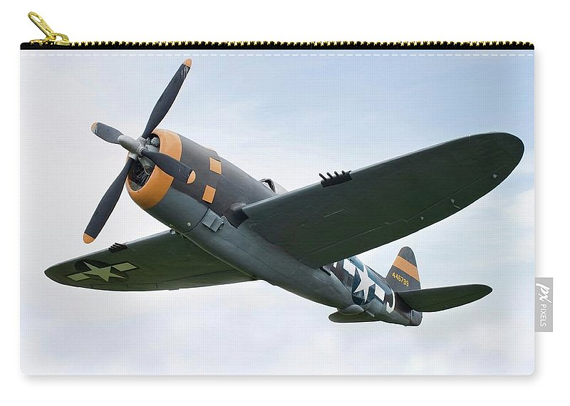 Air Attack Carry-all Pouch featuring the photograph Airplane P-47 Thunderbolt From World by Okrad