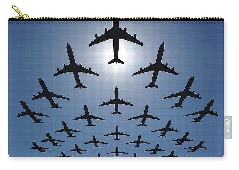 Expertise Carry-all Pouch featuring the photograph Airplane Silhouettes Fly In V Formation by Georgo
