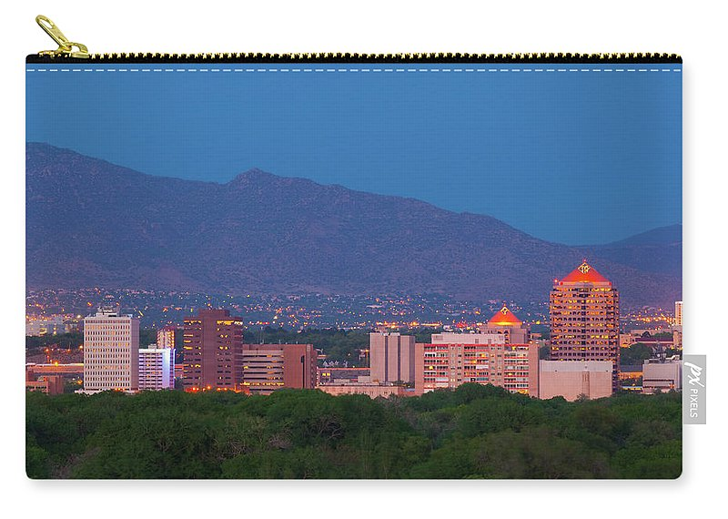 Downtown District Carry-all Pouch featuring the photograph Albuquerque Skyline At Dusk by Davel5957