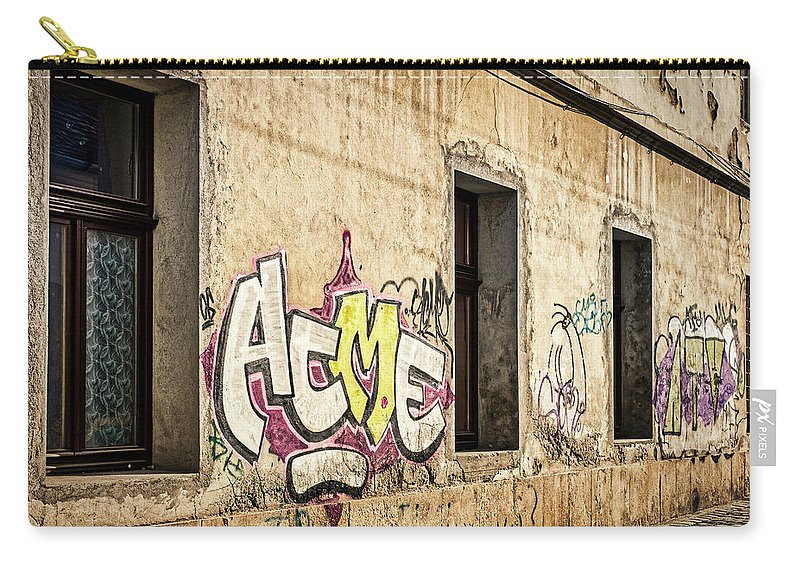 Romania Carry-all Pouch featuring the photograph Alley Graffiti And Windows - Romania by Stuart Litoff