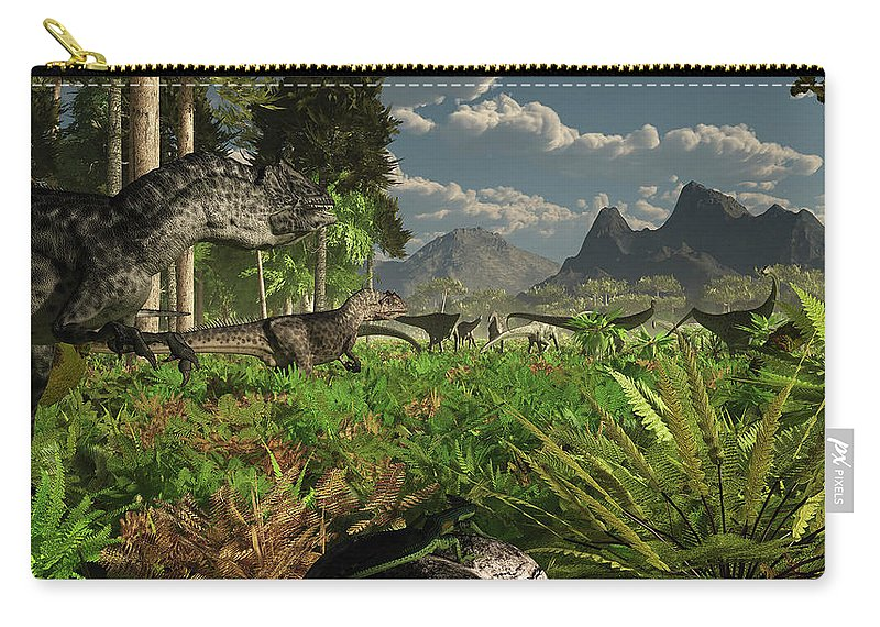 Toughness Carry-all Pouch featuring the digital art Allosaurus And Diplodocus Dinosaurs by Arthur Dorety/stocktrek Images