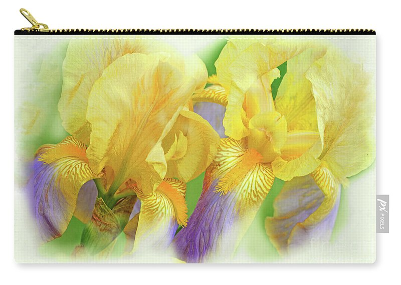 Iris Flowers Carry-all Pouch featuring the photograph Amenti Yellow Iris Flowers by Regina Geoghan