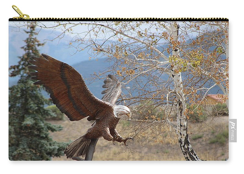 Eagle Carry-all Pouch featuring the photograph American Eagle in Autumn by Colleen Cornelius