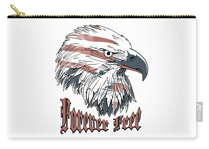 4th-of-july Carry-all Pouch featuring the digital art American Flag Bald Eagle Forever Free by Passion Loft