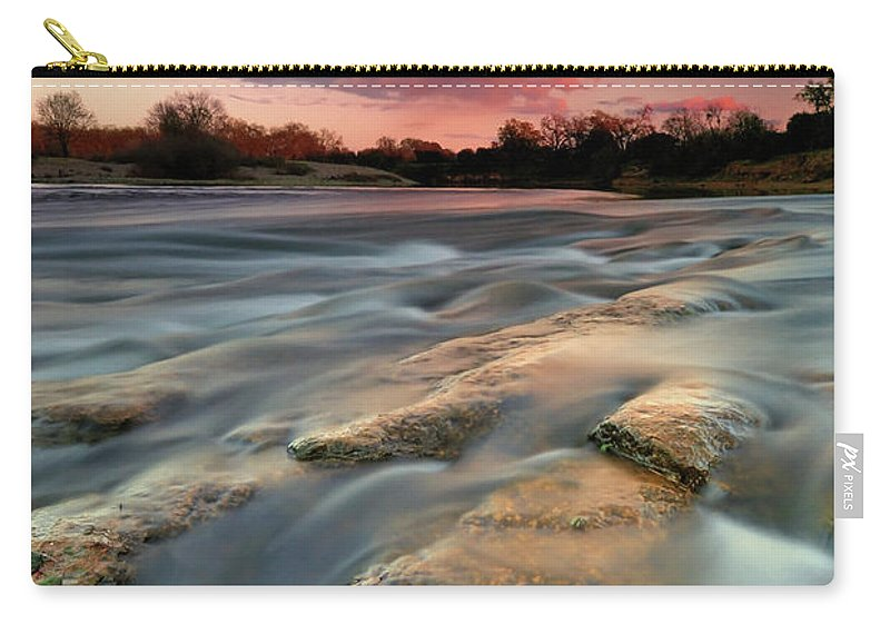 Scenics Carry-all Pouch featuring the photograph American River Parkway At Sunset by David Kiene
