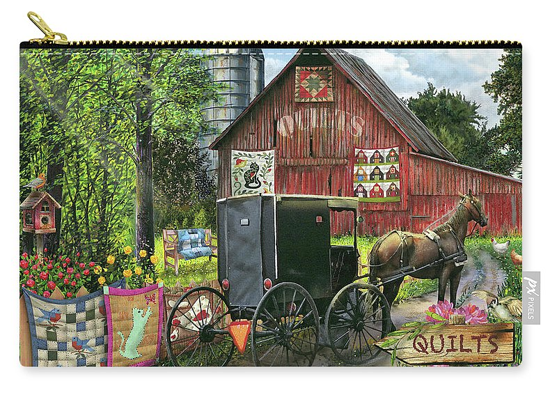 Amish Carry-all Pouch featuring the painting Amish Quilts by Tom Wood