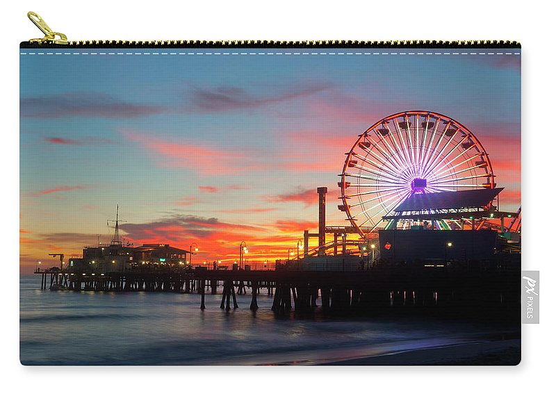 Scenics Carry-all Pouch featuring the photograph Amusement Park On Waterfront At Night by Blend Images/pete Saloutos