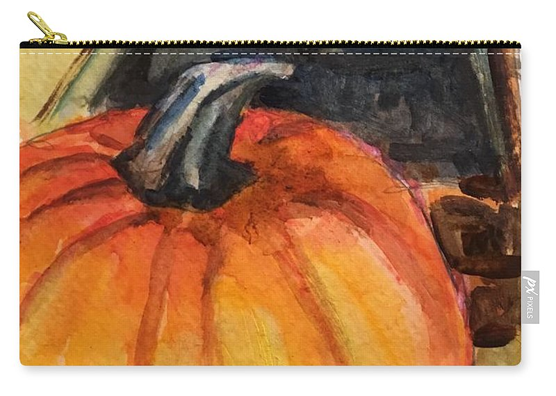 Pumpkin Carry-all Pouch featuring the painting An Autumnal Tease by Susan Elizabeth Jones