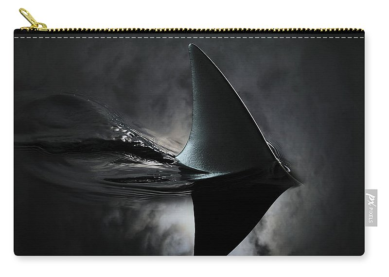 Risk Carry-all Pouch featuring the photograph An Image Of A Shark Fin Against Moon by Jonathan Knowles
