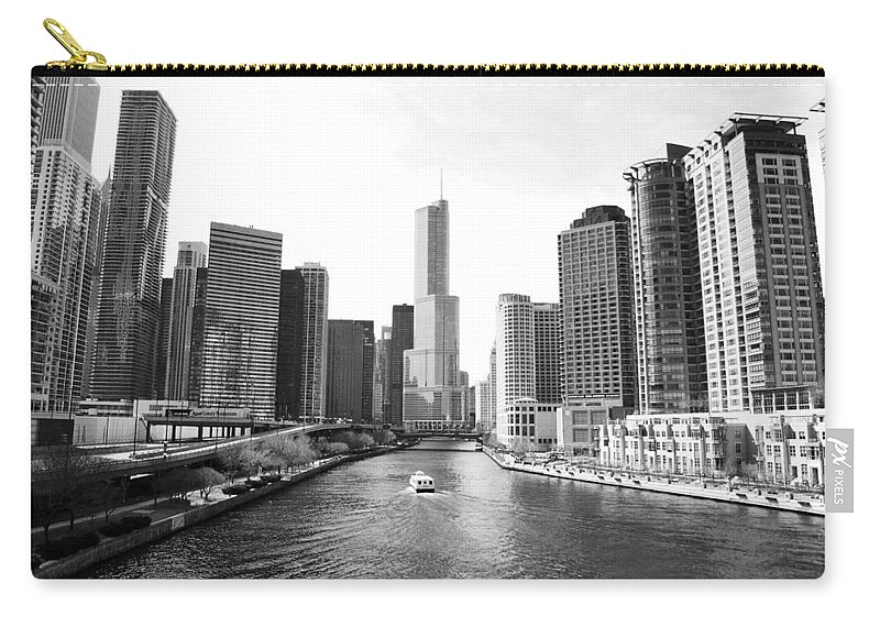 Chicago River Carry-all Pouch featuring the photograph An Unknown Skyline Along The Chicago by Ricardo Montiel