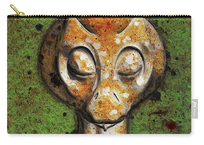 Ufo Carry-all Pouch featuring the painting Ancient Alien by Sarah Kirk