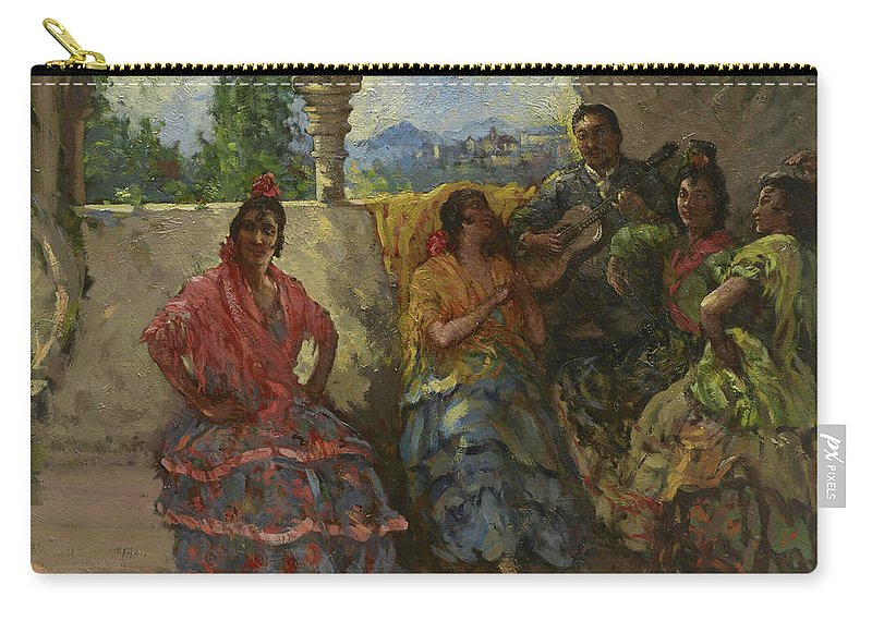 Andalucian Dancers Carry-all Pouch featuring the painting Andalucian Dancers by Lillian Mathilde Genth