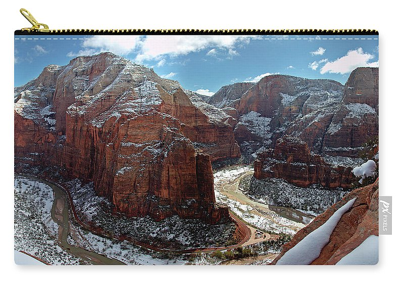 Scenics Carry-all Pouch featuring the photograph Angels Landing View From Top by Daniel Osterkamp