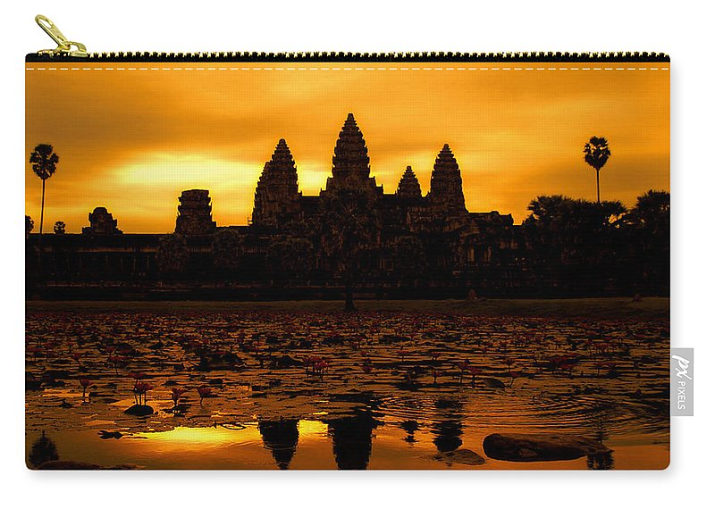 Cambodian Culture Carry-all Pouch featuring the photograph Angkor Wat At Sunrise by David Lazar