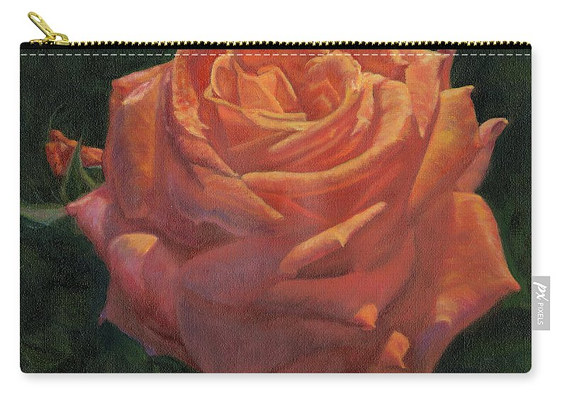 Red Rose Carry-all Pouch featuring the painting Anniversary Rose by Pamela Hastings