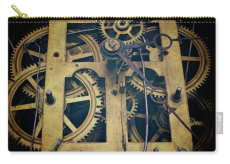 Gear Carry-all Pouch featuring the photograph Antique Clock Gears, Cog And Parts by Melissa Ross