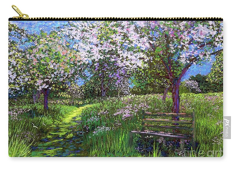 Sun Carry-all Pouch featuring the painting Apple Blossom Trees by Jane Small
