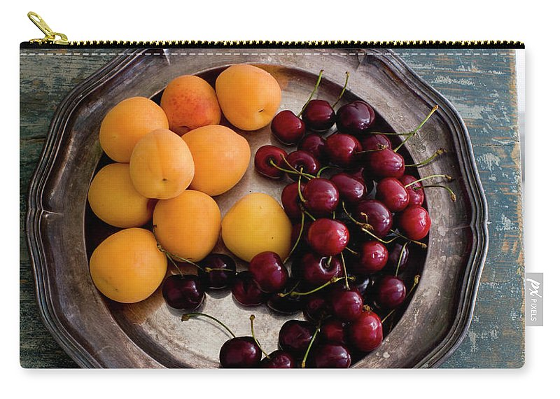 Tranquility Carry-all Pouch featuring the photograph Apricots And Cherries On Silver Tray by Bjurling, Hans