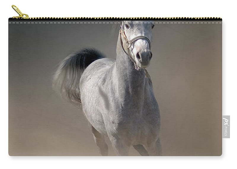 Horse Carry-all Pouch featuring the photograph Arabian Horse Running Through Dust by Christiana Stawski